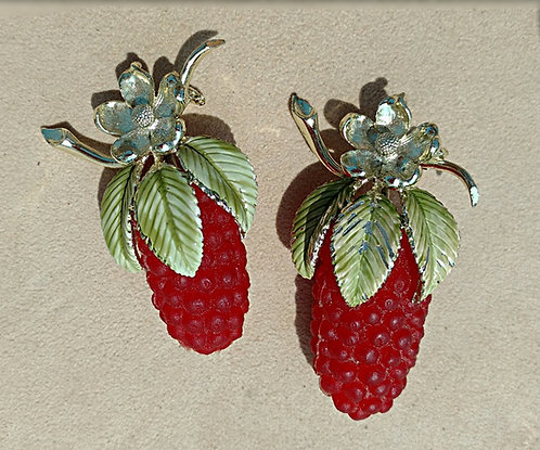 Rare Pair of Vintage Raspberry Brooches, Squeezable Red Rubber Berries