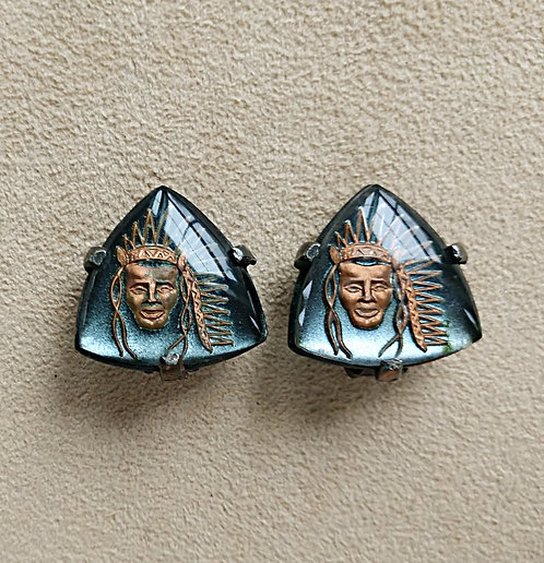 Gray & Copper Clip-on Earrings with Indian Chief Portrait