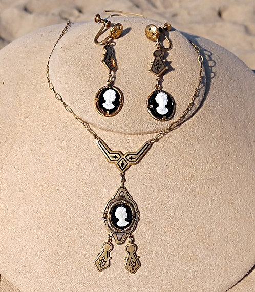 Victorian Antique Brass Cameo Necklace & Earring Set in Black Onyx
