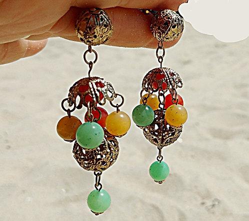 1960's Chandelier Earrings, Filigree, Orange, Green & Gold Balls