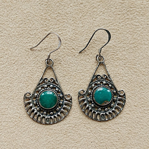 Sterling Silver & Turquoise Teardrop Pendulum Pierced Earrings