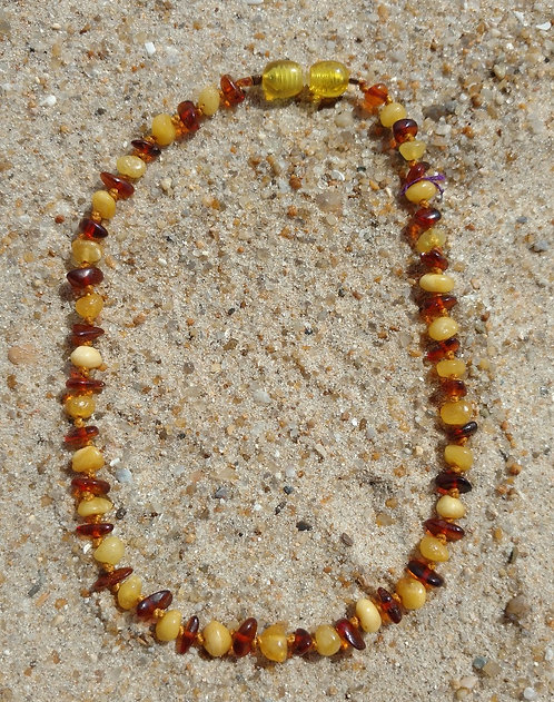 Child's Baltic Amber Teething Necklace on Cotton Cord