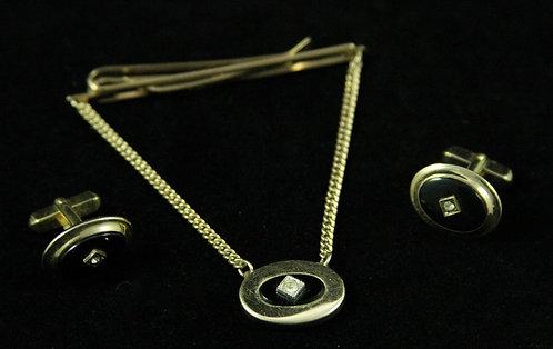 "Kreisler Classic Cufflink & Tie Bar Set in Black Onyx & ""Diamonds"""