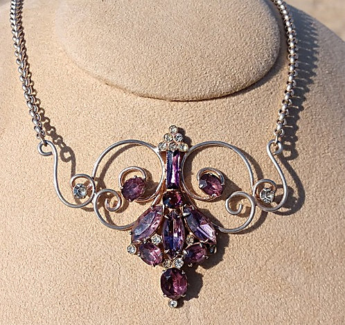 Antique Sterling Art Nouveau Necklace with Large Dusty Purple Rhinestones