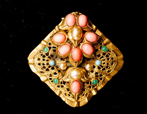 Antique Gold Dress Clip with Pearls, Coral, Jade Green & Turquoise Beads