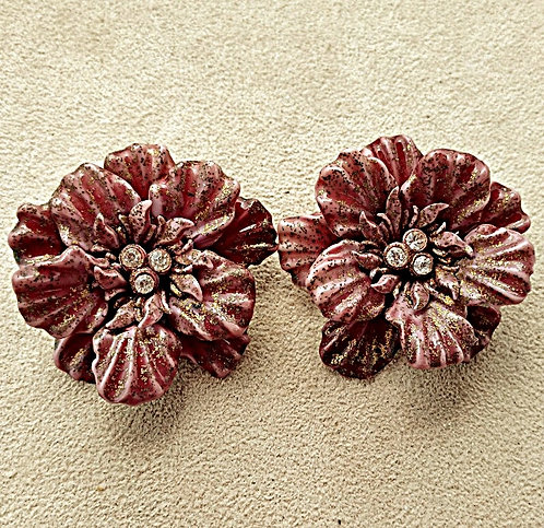 1950's Rosy Taupe Celluloid Flower Clip-on Earrings with Rhinestone Centers