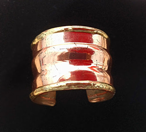 Mid-Century Vintage Heavy Copper Cuff Bracelet with Rolled Brass Edging