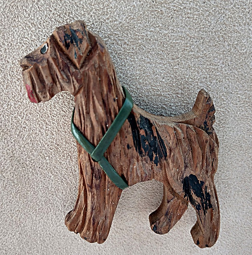 Vintage Hand Carved Wood Terrier Brooch with Green Harness