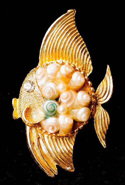 Gold Fish Brooch Adorned with Shells & Pearls