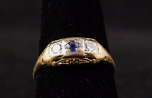 Victorian Diamond and Sapphire 14K Gold Ring, Size 9