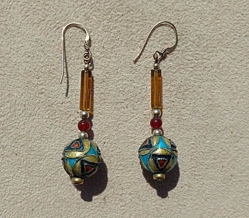 Vintage Dangling Pierced Earrings with Geometric Cloissone & Glass Beads