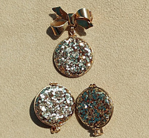 Vintage 1940's Lucite Gold Confetti Brooch & Earring Set