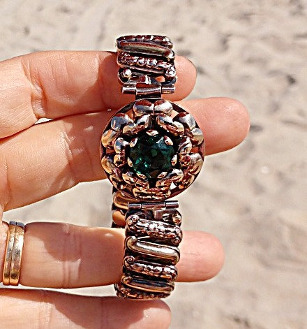 1940's Lustern Rose Gold Filled Expandable Bracelet, Emerald Colored Stone