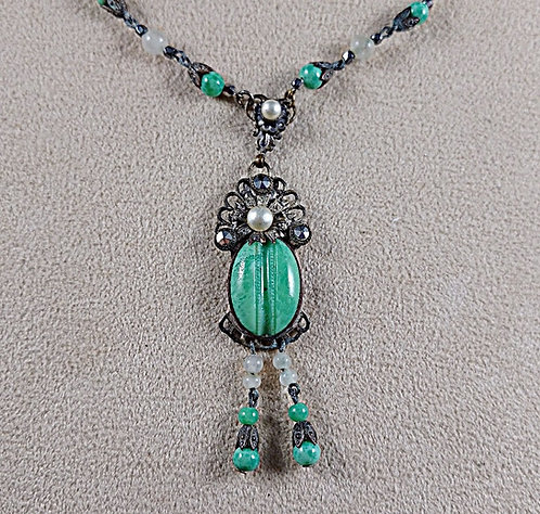 Victorian Delicate Mint Green Scarab & Pearl Fringe Necklace