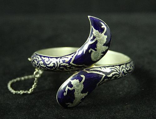 Unusual Navy Blue Enamel on Sterling Nielloware Bangle Bracelet from Thailand