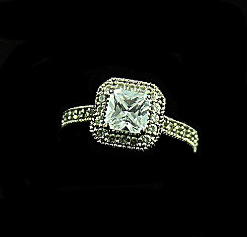 Cushion Cut Cubic Zirconia Sterling Silver Ring,Size 7.25
