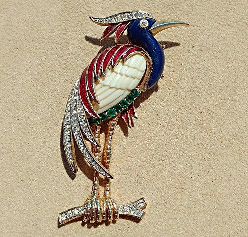 1980's Large Wading Bird Brooch in Blue & Magenta Enamel, Rhinestone Encrusted