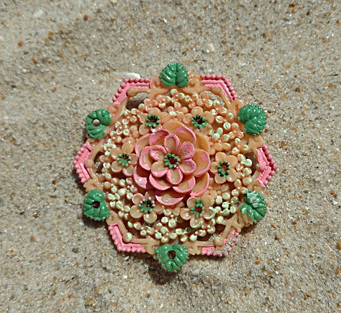 Early Hexagon Hand Painted Celluloid Brooch with Tiny Flowers