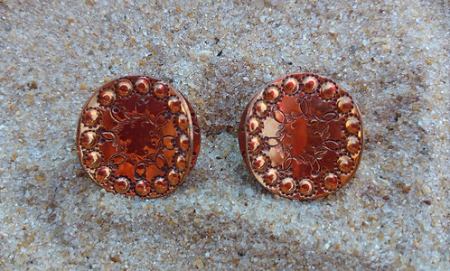 Hand Wrought Round Copper Screwback Earrings by Artist Gret B.