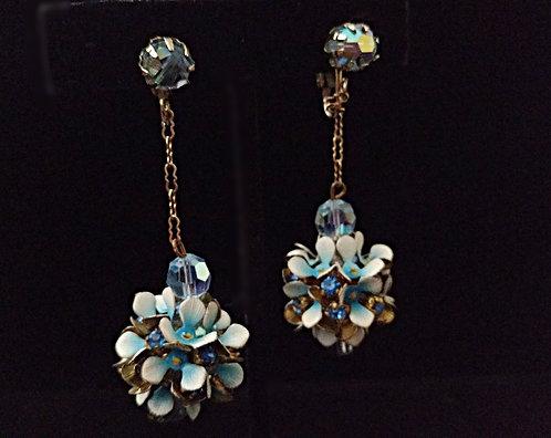 Vintage Blue Flower Globe & Swarovski Crystal Dangling Clip-on Earrings