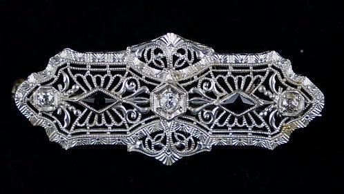 Antique Victorian 14K White Gold, Diamond, Sapphire & Filigree Bar Pin