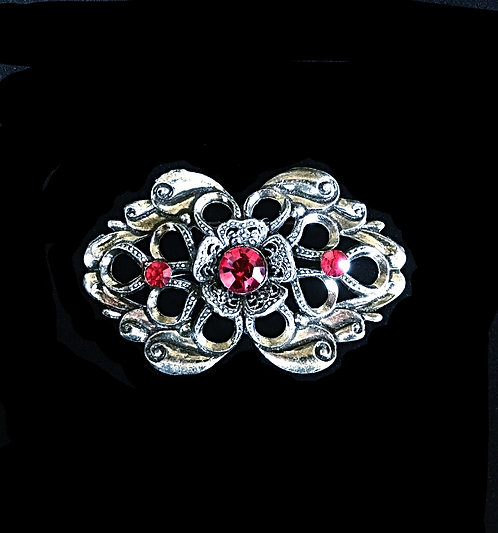 Large 1930's Pewter Gray Brooch with Scarlet Red Rhinestones