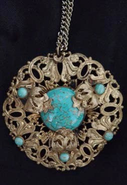 Turquoise Glass Cabochon Pendant Necklace