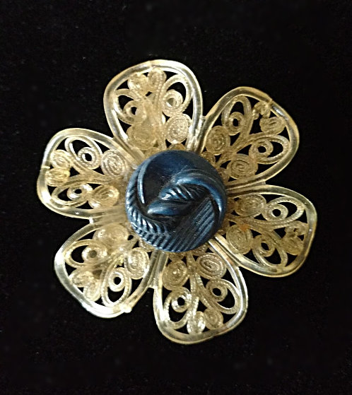 Vintage Celluloid Flower Button Brooch in Navy Blue