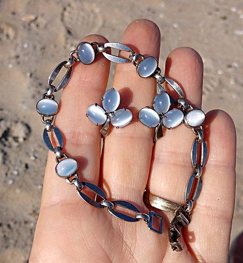 Sterling Silver Moonstone Double Demi Parure Bracelet & Screwback Earring Set