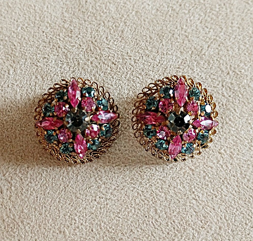 Austrian Pink & Sea Foam Green Rhinestone Clip-On Earrings in Antique Gold