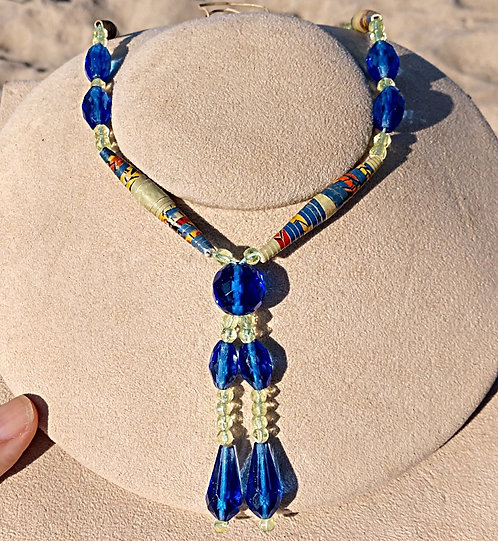 1920's Art Deco Necklace with Royal Blue Crystals, Rolled Paper Beads & Tassels