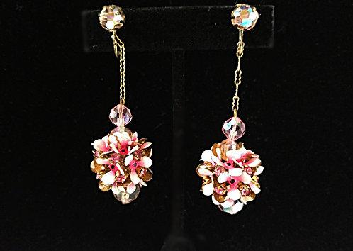 Vintage Pink Flower Globe & Swarovski Crystal Dangling Clip-on Earrings