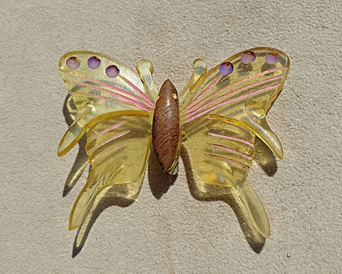 Early Yellow Lucite & Wood Butterfly Brooch with Purple & Pink Hand Painting