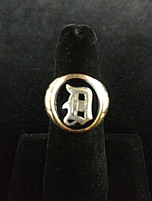1950's Classic Men's 10K Gold Onyx Initial Pinkie Ring - Letter D, Size 7
