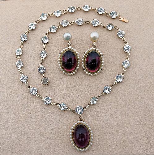 1940's Necklace & Earring Set - Purple Glass, Pearls & Rhinestones