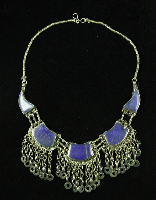 Tribal Tibetan Lapis Necklace in Silver with Chain Link Fringe