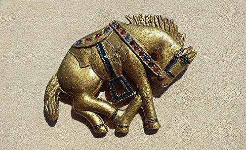Big Vintage Golden Horse Plastic Brooch with Rhinestones