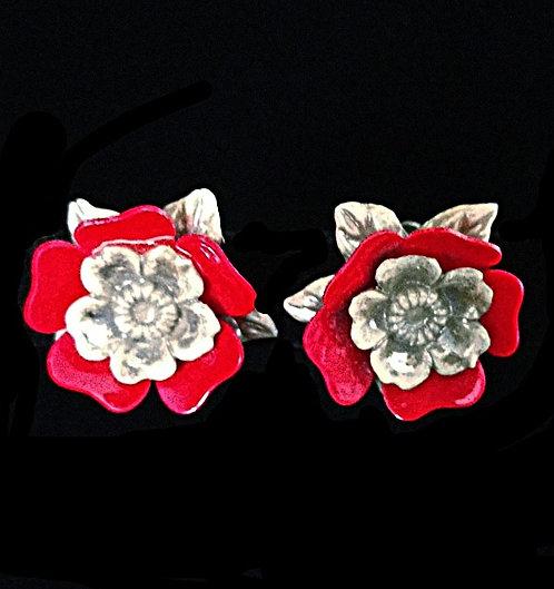 1950's Celluloid Red & Silvery Pearl Gray Flower Screwback Earrings