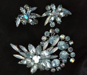 Ice Blue Rhinestone Double Demi Parure Brooch & Earring Set