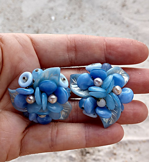 1940's Periwinkle & Baby Blue Flower Earrings with Plastic, Glass & Pearl Beads