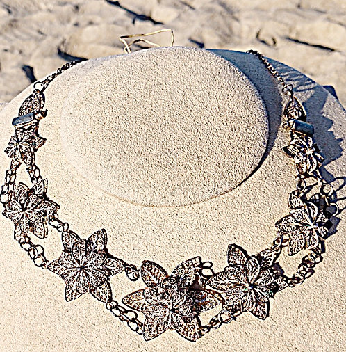 Antique Silver Floral Filigree Necklace - Converts to Bracelet