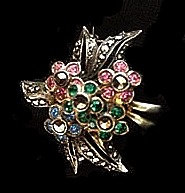 Sterling Bouquet Marcasite Brooch with Colorful Flowers