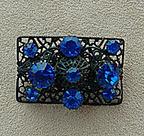 Vintage Lacy Pewter Tone Brooch with Outstanding Royal Blue Glass Stones