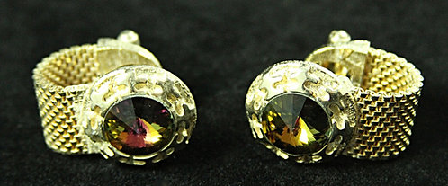 Wrap-Around Cufflinks in Gold with Large Iridescent Brown Glass Stone