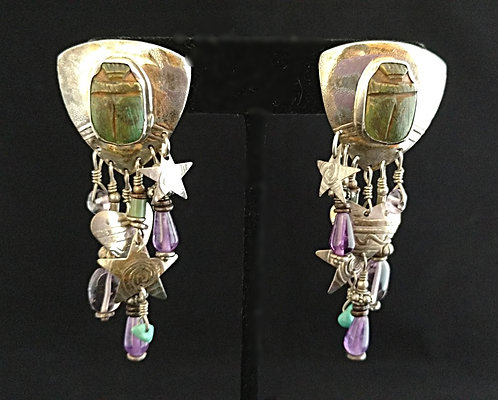 Sterling Pierced Earrings - Scarabs, Amethyst, Turquoise, Silver Hearts &  Stars