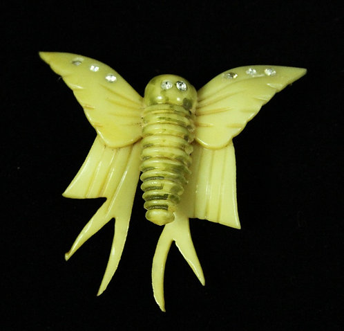 Early 1900's Plastic Butterfly Brooch in Buttery Yellow with Rhinestones