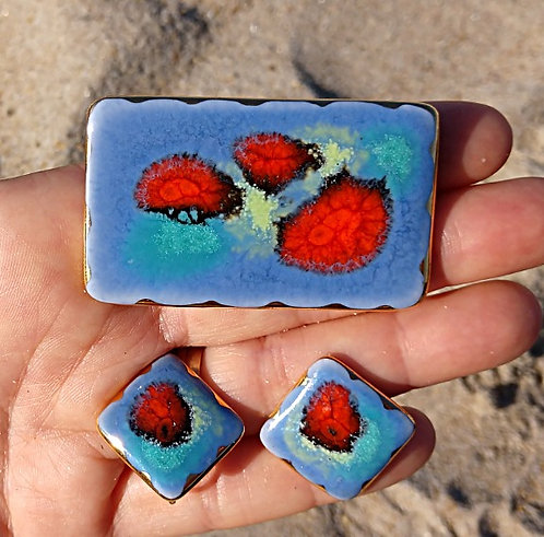 1960's Artisan Brooch & Earring Set in Lavender Blue & Blood Red Orange