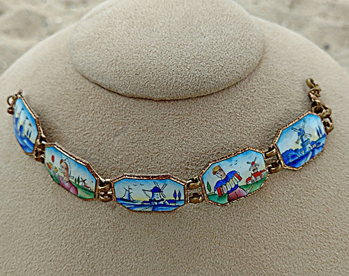 Antique Dutch Hand Painted Folk Art Enamel Bracelet with Holland Scenes