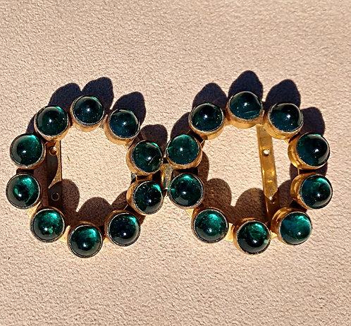 Emerald Green Glass Double Circle Belt Buckle