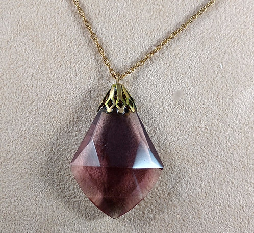 Antique Purple Cut Crystal Pendant Necklace on a Gold Fill Chain